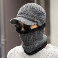 韩版毛线帽围脖两件套男士帽子加绒加厚保暖包头针织帽