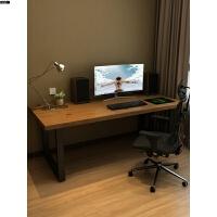 北欧办公桌双人实木台式电脑桌用简易松木书桌卧室工作桌写字台