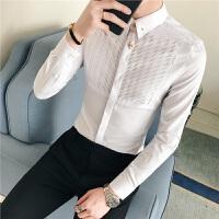 2018春装新款衬衫男长袖修身韩版帅气青年潮流休闲百搭发型师衬衣