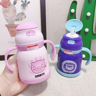 儿童带手柄保温杯宝宝喝水杯子带吸管婴儿防摔家用6-18个月幼儿园