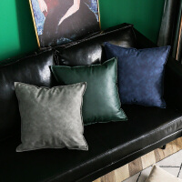 现代简约皮质沙发抱枕纯色靠卧室床上靠垫四方枕头套不含芯靠枕套