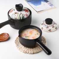 川岛屋日式长柄陶瓷奶锅家用燃气灶适用热奶煮粥锅宝宝婴儿辅食锅