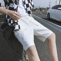 夏季新款男士纯棉休闲短裤宽松韩版五分裤纯色百搭沙滩裤