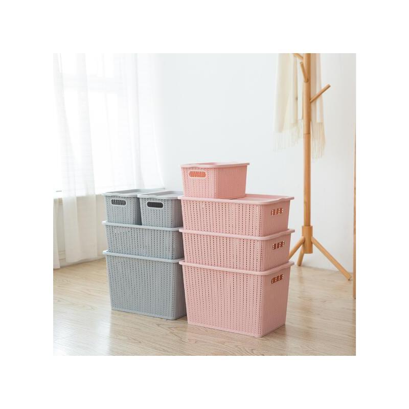 整理箱带盖桌面储物箱置物筐仿藤编镂空塑料零食衣物收纳篮 满68元包邮