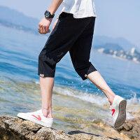 短裤男裤子男韩版潮流七分裤男休闲裤沙滩裤运动裤男宽松 黑 色 3X