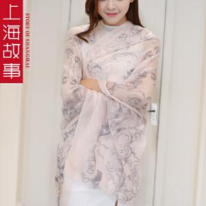 上海故事春秋女款戒指绒韩版时尚百搭超长纯羊绒印花围巾披肩夏季空调围巾