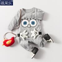 婴儿连体衣服宝宝新生儿长袖0岁3个月春长袖连体衣宝宝衣服