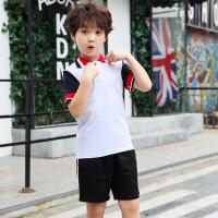 夏季小学校服 休闲儿童POLO衫 宽松T恤童装纯棉儿童套装定制
