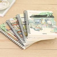 新款手帐本笔记本加厚线圈侧翻日式手绘创意潮流可爱文艺日记本子