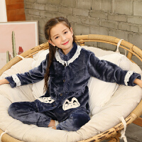 秋冬季女童法兰绒儿童睡衣宝宝小孩珊瑚绒亲子公主家居服套装大童
