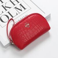 新款鳄鱼纹手拿包女大容量韩版简约贝壳化妆包牛皮蛇纹拉链手机包女包