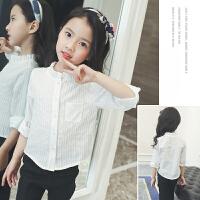 女童衬衫春夏装儿童长袖衬衣木耳边圆领白衬衫小女孩上衣学生装