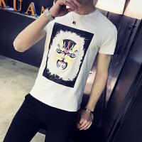2018夏款港风个性男装圆领半袖脸谱印花潮流韩版修身短袖T恤学生