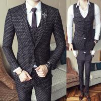 秋季新款西服套装男士商务修身千鸟格小西装英伦帅气韩版三件套潮