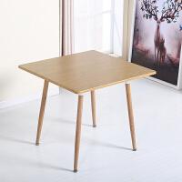 北欧铁艺牛角椅子仿实木简约餐椅咖啡厅西餐厅甜品奶茶店桌椅组合 四腿80方台老榆木 可定制80圆60方