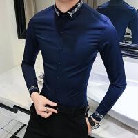夏季男士长袖衬衫韩版修身纯色衬衣青年夜店发型师时尚寸衣英伦风