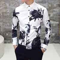 衬衫男长袖修身 韩版印花 刺绣夜店潮流花色衬衣帅气个性寸衣帅气