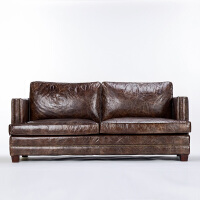 奇居良品 美式家具 蒙迪亚咖啡色进口头层牛皮客厅沙发组合