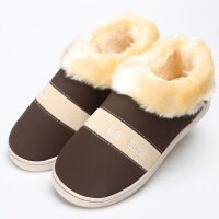 冬季新款PU防水皮包跟棉拖鞋男女情侣加厚底保暖毛绒拖鞋 36/37适合35-36穿