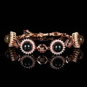 蓝珀圆珠创意镶嵌手链 太阳花款 重11.85g