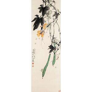 X2475王雪涛《花卉草虫》(原装旧裱,满斑)