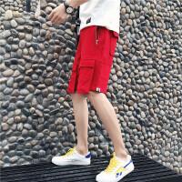 夏季新款男士原宿大红色短裤中裤个性不规则口袋五分潮裤