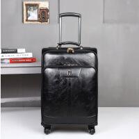 行李箱皮质男复古拉杆箱万向轮商务拉杆箱男真皮质感20寸登机24寸