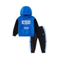 【2件3折】小猪班纳童装男童加绒连帽套装冬季新款儿童加厚卫衣裤子两件套