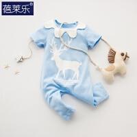 婴儿连体衣服宝宝新生儿哈衣季外出服1短袖睡衣5棉潮款