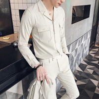 春夏季装修身西装领衬衣两件套男士纯色长袖衬衫套装潮流休闲裤