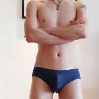 三条装款男士冰丝情趣内裤无痕低腰紧身运动性感窄边非U凸小三角内裤 XX