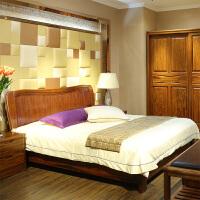 全实木床1.8米 乌金木双人床大床 纯中式实木家具婚床