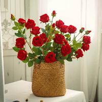 仿真花装饰摆件高枝红玫瑰花束插花5头仿真玫瑰花客厅长单支假花