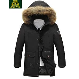 AFS JEEP战地吉普 2017冬季中长款棉服 男士休闲多口袋可脱卸连帽棉衣外套LZ58130