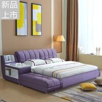 主卧榻榻米床布艺床现代简约卧室双人床2米2.2米2.4大床踏踏米床定制