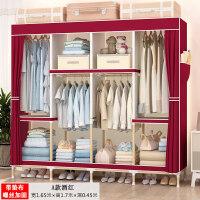 简易衣柜布艺实木组装折叠布衣柜子宿舍家用租房卧室经济型布衣橱 2门 组装