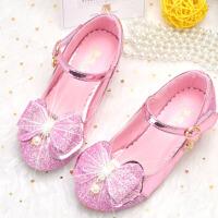 儿童高跟鞋春秋公主鞋女童韩版蝴蝶结水晶鞋舞蹈演出单鞋