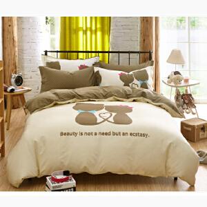 OLYI 纯棉床上用品四件套 全棉斜纹活性印花床单式家纺四件套 二人世界床品四件套 床上四件套