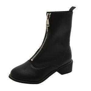 ELEISE美国艾蕾莎新品秋冬182-HA001韩版超纤皮高跟粗跟女士马丁靴短靴