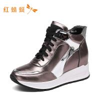 【专柜正品】红蜻蜓女鞋冬款内增高女韩版休闲镂空高帮鞋 短靴