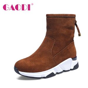 高蒂短靴女平底韩版冬季新款加绒保暖牛反绒蝴蝶结百搭雪地靴子女