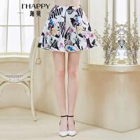 【2件5折】海贝春装时尚短裙 精美印花荷叶边高腰A字裙短裙