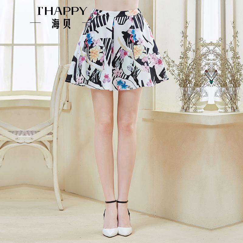 海贝秋装时尚短裙 精美印花荷叶边高腰A字裙短裙
