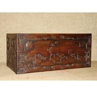Z995《旧藏老花梨木博古纹多宝文具盒》(此花梨木文具盒,器型规整,主体浮雕博古纹饰 ,整个盒子为上下打开的盖盒形式,