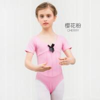儿童舞蹈服装女童练功服短袖考级服连体服芭蕾舞裙