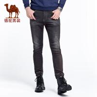 骆驼男装 秋季新款男士时尚中腰修身小脚纯色休闲牛仔九分裤
