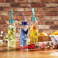 Evergreen爱屋格林玻璃杯美式创意印花杯子男女耐热随手杯大容量便携水杯