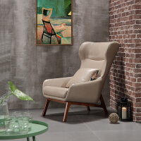 北欧单人沙发椅现代实木卧室客厅真皮休闲凳高背老虎椅家用飞机座 两椅配茶几 备注颜色