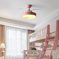 美式儿童房隐形吊扇灯客厅灯具餐厅风扇灯现代简约家用led