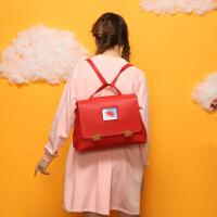复古双肩包潮 英伦风森系书包女 chic大容量简约电脑背包